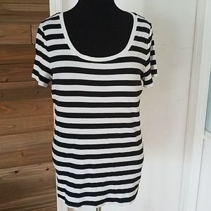 Merona XXL Black and White Striped Tee Shirt Top